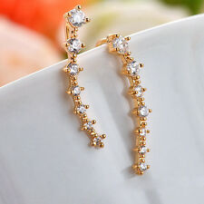 Fashion Silver Gold Plated Stars Element Crystal Pearl Earrings Ear Hook