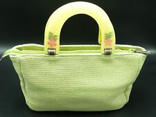 Relic Fossil Light Green Pressed Flower Lucite Handles Satchel Woven Hand Bag