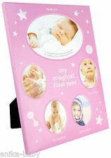 My First Year Photo Frame Gift Baby Girl Christening Gift 5 Month Stages Pink