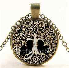 Vintage Metal Tree of Life Glass Cabochon Bronze Chain Pendant  Necklace
