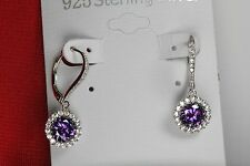 Leverback Sterling 925 Silver Nickel Free Amethyst Halo Flower Dangle Earrings
