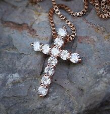 Mini Lab Diamond Rose Gold Cross Charm With 20 Inch Box Chain