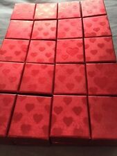 WHOLESALE JOBLOT 50 RED HEART RING BOXES, JEWELLERY BOXES, PACKAGING, VALENTINE