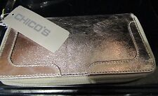 CHICOS Silver Metallic Leather Wallet NEW