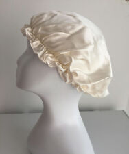 New Arrive 100% pure silk white sleep cap bonnet night cap for hair care