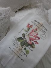 Beautiful PINK Rose Ville De PARIS Tea Towel FRENCH Inspired Kitchen DECOR
