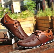 Men Lace Up Leather Loafers Driving moccasin-gommino Dress Shoes Brown US 10.5