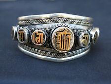 Huge Tibetan Delicately Carved Golden Kalachakra OM Mani Padme Hum Cuff Bracelet