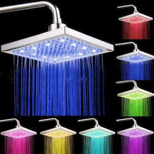 LED Light Square Rain Shower Head Stainless Steel 7Color Changing Hottest