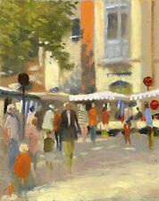 """Nuevo Original Michael Richardson """"el mercado dinar"""" Bretaña Francia pintura al óleo"""