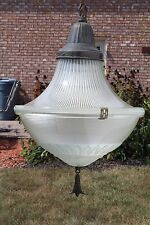 LARGE VINTAGE HANGING ACORN HOLOPHANE PENDANT LIGHT w/DECORATIVE GLASS LAMPSHADE