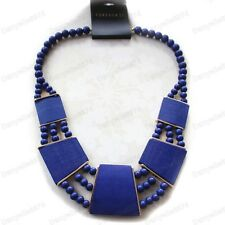 LARGE COLLAR NECKLACE navy DARK BLUE gold plated CHUNKY BOHO BEADED cobalt RETRO