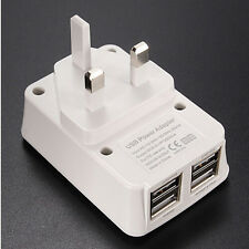 4 Port USB UK Mains Wall 3 Pin Plug Adaptor Charger for Phones and Tablets