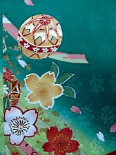[AYANE] Japanese Silk KIMONO Fabric -  TEMARI BALL AND CHERRY BLOSSOMS (Sample)