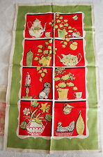 2 Vintage Kitchen Towels Country Window Pane / Hutch Display as is 50's-60's
