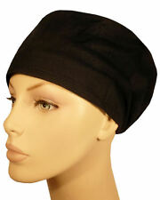 SURGICAL SCRUB HAT THEATRE CAP BLACK COMFORT HAT CORD LOCK
