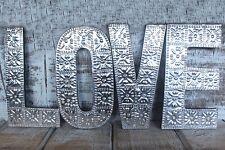Grandi dimensioni color argento love in alluminio e Lettere di Legno Muro Appeso MATRIMONIO/ANNIVERSARIO
