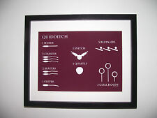 Harry Potter Inspired Quidditch Rules Picture - A4 Art Print / Poster (Red)