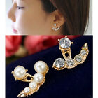 Fashion Women Pearl Crystal Rhinestone Ear Ear Stud Earrings Jewelry Gift New