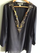 SACHIN + BABI $395 Navy Embellished Silk Tunic--SZ L--VERY GOOD CONDITION!!!