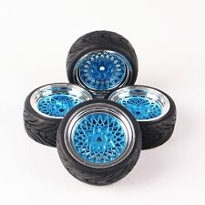 4 Pcs Rubber Tires 26mm Wide Wheels Rims For HSP HPI RC 1:10 Flat On Road Car