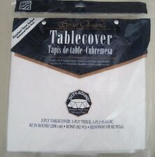 Special Occasion White Tablecloth Octy-Round Tissue Surface Waterproof Plastic