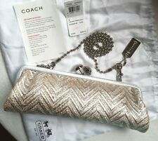 $358 Coach Amanda Silver Darcy Straw Clutch Bag 13592 Shoulder Chain Purse