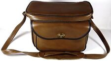 "1960's Serval Zipper Company 11""l Faux Brown Leather Camera Carry Case w/Strap"