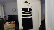 RALPH LAUREN ALICIA CAP SLEEVE BLACK/IVORY DRESS SIZE 2