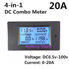 DC 20A LCD Combo meter Voltage current KWh watt Car battery panel power monitor