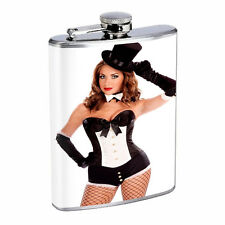 Waitress Pin Up Girls D3 Flask 8oz Stainless Steel Hip Drinking Whiskey Costume