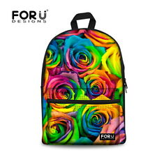 3D Floral Rose Women Canvas Shoulder School Bag Backpack Travel Satchel Rucksack