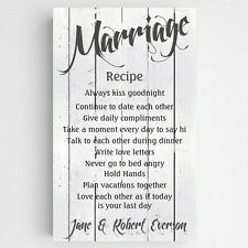 Marriage Recipe White Wood Personalized Canvas Sign Home Decor Wedding Gift