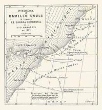 B7216 Itinerario di Camille Douls nel Sahara - Mappa geografica del 1888