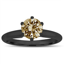 Fancy Champagne Brown Diamond Solitaire Engagement Ring 1.00 Ct 14K Black Gold