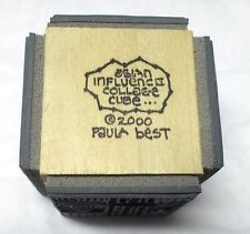 Paula Best rubber stamp cube Asian Influence collage 4 sided block dated 2000