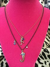 Betsey Johnson Vintage Under The Sea Nautical Anchor Coral Seahorse Necklace