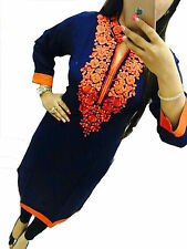 New Selfie Fancy Look Navy Blue Color Embroidery Georgette Kurti for Girl-Women