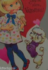 Vtg Valentine Card 70's Pete Hawley Pretty Girl Poodle Dog Ice Cream Cone UNUSED