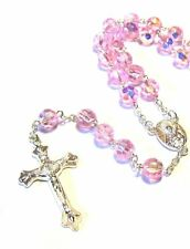 Silver Plated Crystal Pink Glass Rosary Necklace