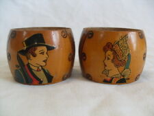 Pair of Vintage Wooden Napkin Rings Man and Women in National/Provincial Dress