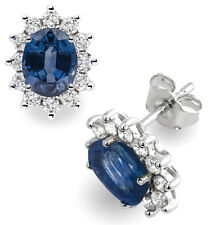 18Carat White Gold Natural Blue Sapphire & Diamond Oval Cluster Pair of Earrings