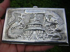 ANTIQUE CHINESE EXPORT STERLING SILVER CIGARETTE CASE BOX DOUBLE DRAGON PAO CHI