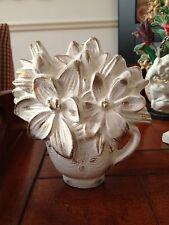 DOORSTOP DOOR STOP WHITE CAST IRON CHIC SHABBY GARDEN FLOWERS IN A TEACUP