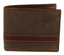 NEW TIMBERLAND MEN'S CLASSIC VINTAGE LEATHER CANVAS WALLET DARK EARTH D88218/73