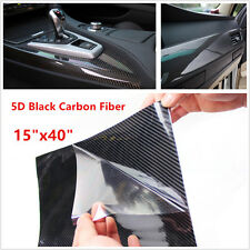 Cars SUV Ultra Gloss 5D Carbon Fibre Vinyl Wrap Film Adhesive Black Tint Sticker