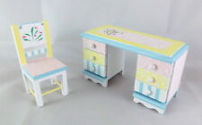 Dolls House Miniature 1:12 Bedroom Furniture Pastel Shabby Chic Desk & Chair