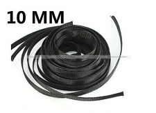 10mm Black Braided Cable Sleeving Sheathing Auto Wire Harnessing 10 Meter