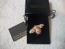 JOAN RIVERS Goldtone BEE Pin Pink & White Enamel Blossoms Green Crystal Eyes