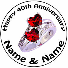 "Personalised 40th Ruby Heart Ring Wedding Anniversary Round 8"" Icing Cake Topper"